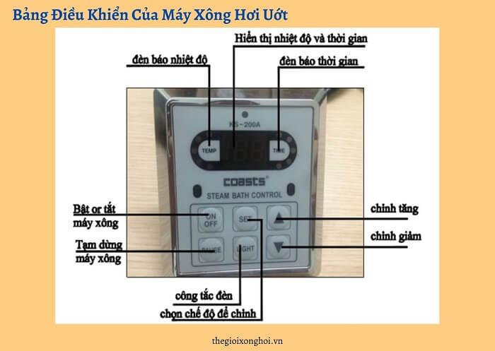 cách sử dụng bảng điều khiển máy xông hơi