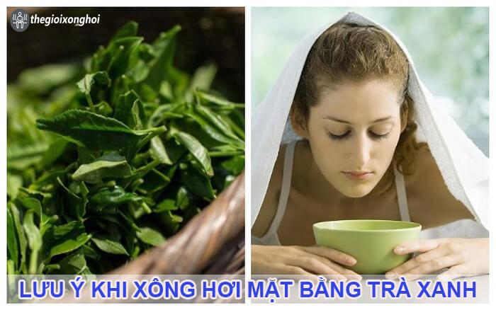 xông mặt bằng trà xanh